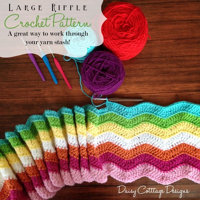 "Stashbuster Ripple Crochet Afghan - free CROCHET pattern - ""easy"" - use up your leftover yarns"