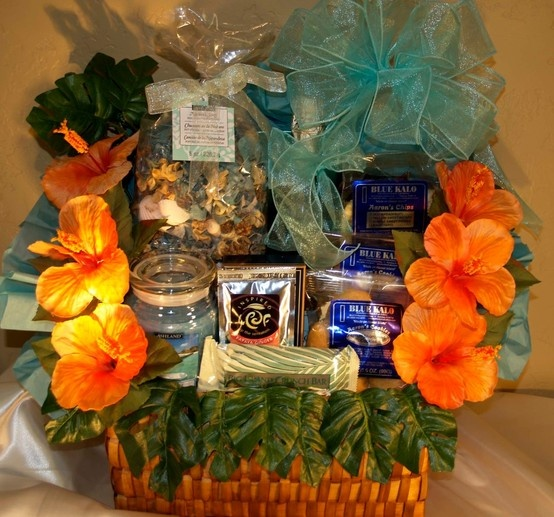Custom Gift Baskets, Hawaiian Theme Anniversary. This couple got married in Maui and wanted a Hawaiian themed basket for their first anniv…