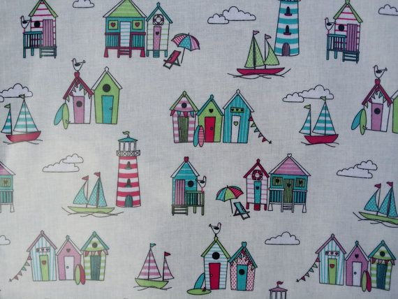 Candy Beach Huts Vintage oilcloth fabric Kitchen tables Retro PVC Oilcloth Vinyl Cafe Bar Table Wipe clean Tablecloth fabric - PER METRE