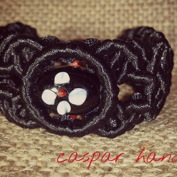 beautiful black macrame bracelet with painted bead