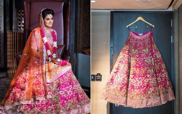 pink and orange bridal lehenga by anamika khanna source: weddingsutra