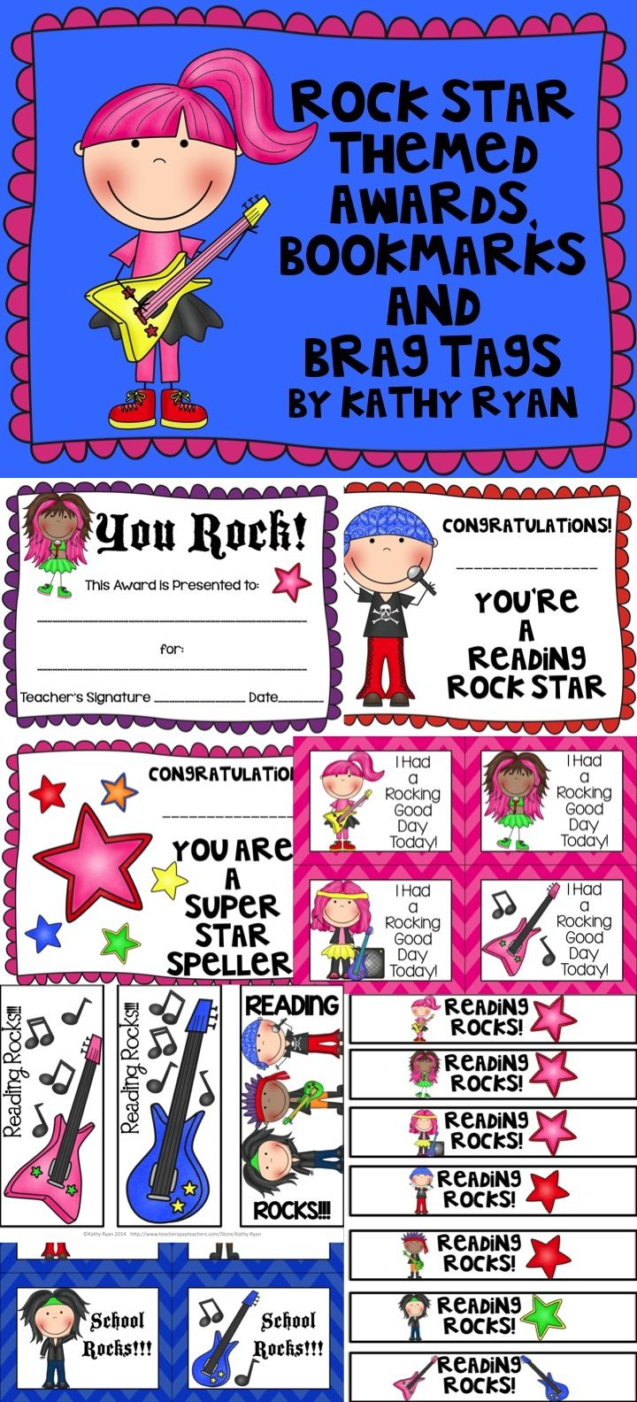 Need something to congratulate your students on a job well done? Try these Rock Star Themed Awards, Certificates, and Brag Tags. This collection contains dozens of different printable awards, bookmarks, bracelets, and certificates to help celebrate the your students' achievements throughout the year.
