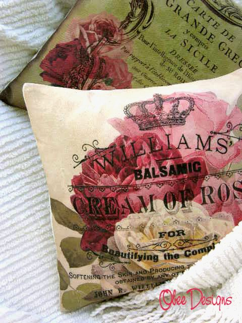 Vintage Label PILLOW with Cabbage ROSES & CROWN in by Obeedesigns, $32.00