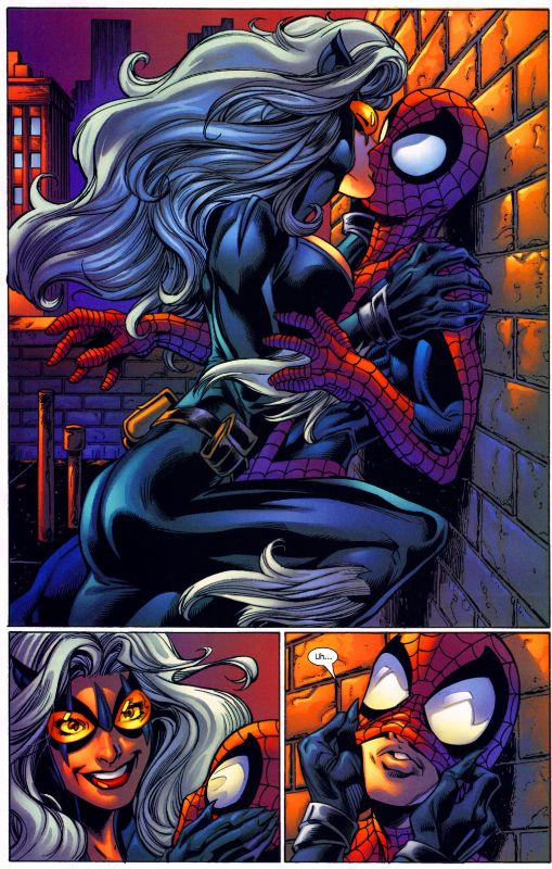 Ultimate Spiderman Black Cat Kiss