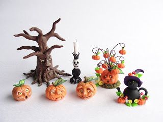 Miniature polymer clay Autumn dollhouse items by fizzyclaret