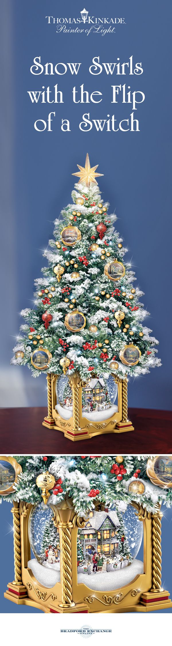 Thomas kinkade o holy night christmas stocking - Brighten Your Holiday Home With This First Ever Thomas Kinkade Snowglobe Tree It Features
