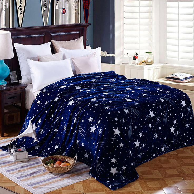 1Pc High Density Super Soft Flannel Blanket For Sofa Bed Textile Cute Plush Wool Fluffy Stars Boys Blanket