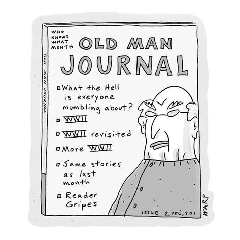 A publication titled 'Old Man Journal' lists content mostly regarding WWII… - Cartoon Premium Giclee Print