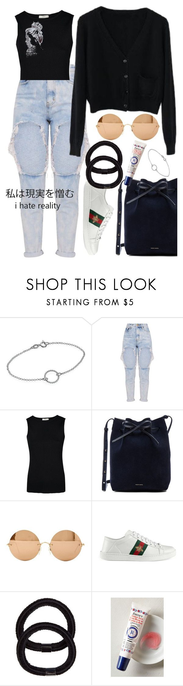 """""""Denim Is A Way Of Life"""" by sunsetttt ❤ liked on Polyvore featuring EGREY, Mansur Gavriel, Victoria Beckham, Gucci, John Lewis and Rosebud Perfume Co."""