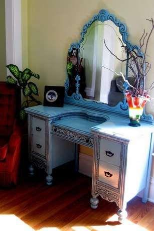 Lovely Vanity Redo Painted In U0027Blue Ocean Breezeu0027