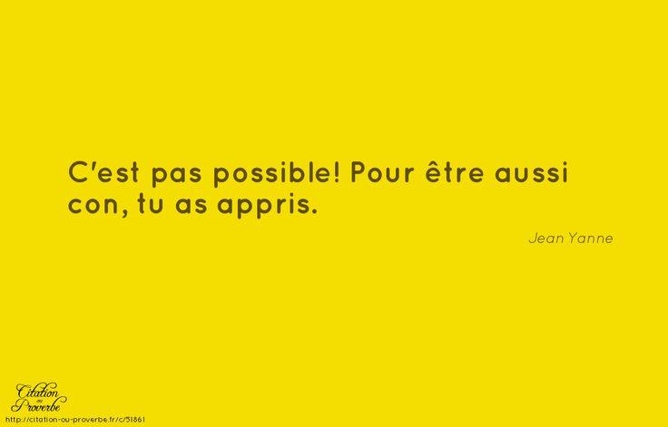 «C'est pas possible! Pour être aussi con, tu as appris.» Jean Yanne