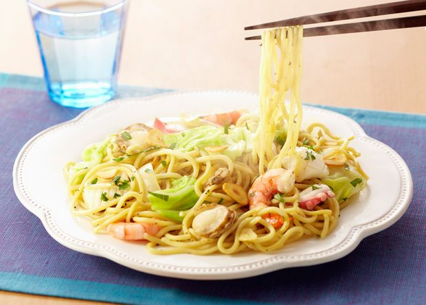 シーフード蒸し焼きコンそば (レシピNo.2516) ネスレ バランスレシピ  http://p.nestle.jp/pint_recipe/