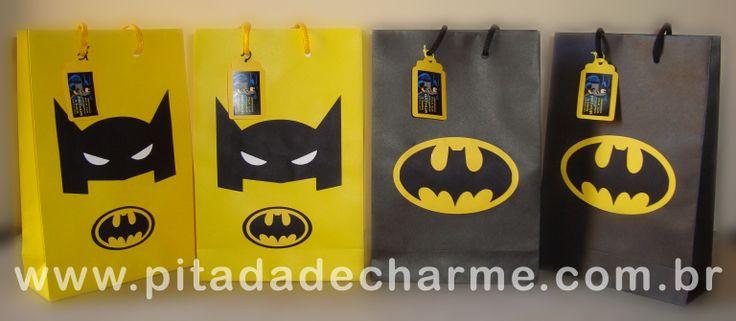 *Sacolinhas decoradas com scrap* Festinha do Batman