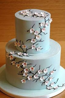 Wedding Cakes Pictures: Blue Cherry Blossom Wedding Cake