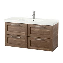 IKEA - GODMORGON / ODENSVIK, Sink cabinet with 4 drawers, high gloss gray, , 10-year Limited Warranty. Read about the terms in the Limited Warranty brochure.Smooth-running and soft-closing drawers with pull-out stop.You can easily customize the size of the drawer by moving the divider.You can easily see and reach your things because the drawers pull out fully.Drawers made of solid wood, with bottom in scratch-resistant melamine.The included water trap is easy to connect to the drain, was...
