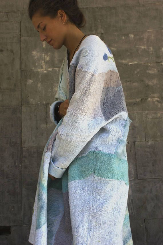 Women coat felted jacketfelted coat Hand made clothing