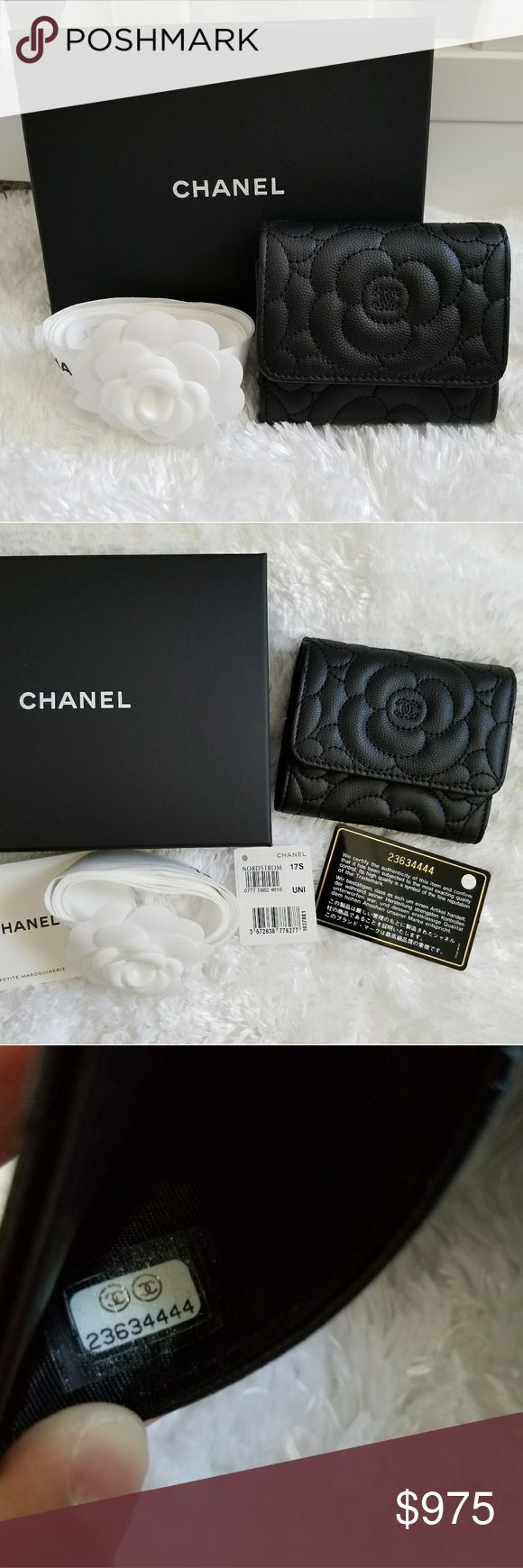 """CHANEL So Black Camellia Trifold Compact Wallet BRAND NEW! ⚫SO BLACK⚫ CAMELLIA TRIFOLD COMPACT WALLET  2017 COMPACT TRIFOLD WALLET WITH INTERIOR COIN SNAP FLAP POUCH AND SEVERAL POCKETS AND CC SLOTS  4"""" long by 4"""" high (closed)  9"""" long by 4"""" high (extended full length)  Grained calfskin. Super durable!  Comes with box, ribbon, camellia flower, dust bag, authenticity card, price tag, and care booklet.   Cheaper through 🅿️🅿️ CHANEL Bags Wallets"""