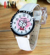Moda o. t. mar marca reloj de la historieta encantadora hello kitty reloj de los niños muchacha de las mujeres vestido de cristal de cuarzo reloj de pulsera(China (Mainland))