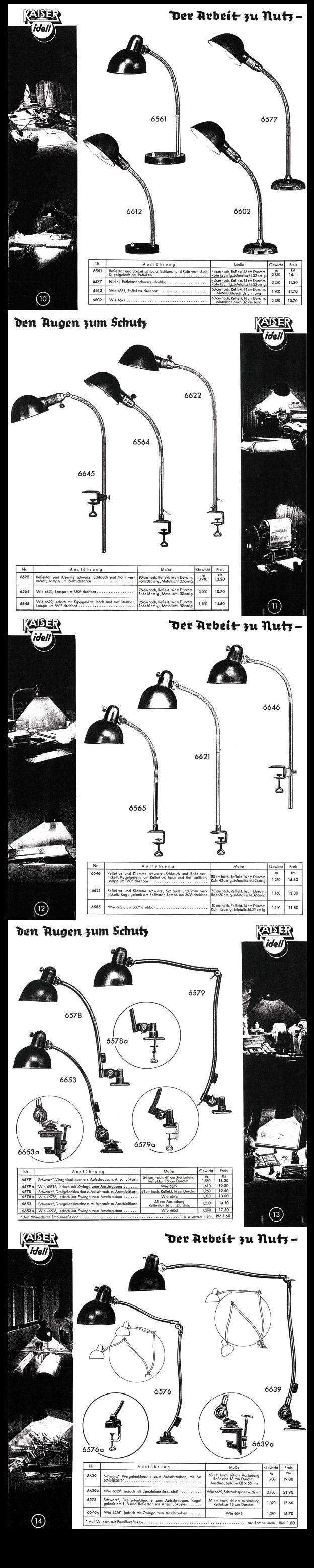 Rare Kaiser & Co. Work Lamp Catalogue 1936 - Pages 10 to 14 #KaiserIdell #Kaiser_Idell #ChristianDell #Bauhaus #Modernism #Modernist #Molecula