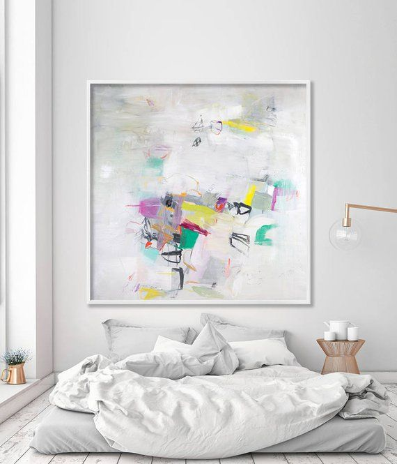 Abstract Painting Print Master Bedroom Art Living Room Office Extra Large Wall Whit