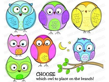 Owls Clip Art Set - cute cartoon owl pictures, baby shower owl clipart, pastel color 30021