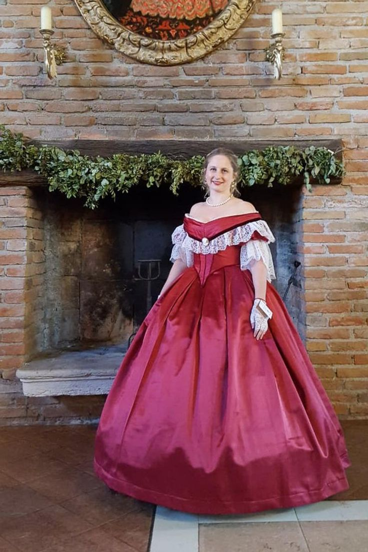 Victorian Prom Dress Victorian Ball Gown Burgundy Satin White Lace And Velvet Ribbon With Bertha Model Giorgia 1860 Victorian Ball Gowns Ball Gowns Dresses [ 1103 x 736 Pixel ]