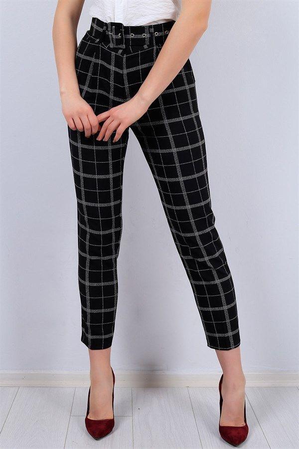 39 95 Tl Siyah Kemerli Bayan Kumas Pantolon 12311b Modamizbir Tarz Moda Kumas Pantolonlar Moda