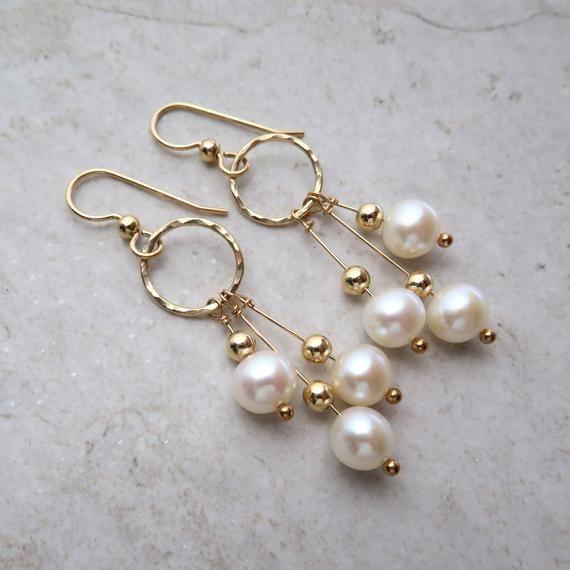 Hawaii Beads Jewelry Pearl Hoop Earrings Minimal Cream White Freshwater Pearls Bohemian Boho Silver Plated Hoops
