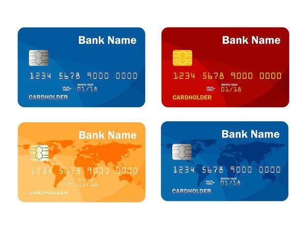 Set Of Credit Or Debit Card Template Online Payment Cash Withdrawal Illustration Credit Card Hacks Debit Card Debit