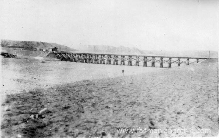 "bridge over watercourse Wady Ghuzze was a vital source of water during preparations for the move on Beersheba. ""A characteristic wady, the Ghuzze is more favoured than most of the streams of southern Palestine; in addition to its winter floods, when it rolls down in a great muddy torrent several feet deep . . . it is fed in summer by a number of springs in its bed, which . . . provide permanent water"".(263)"