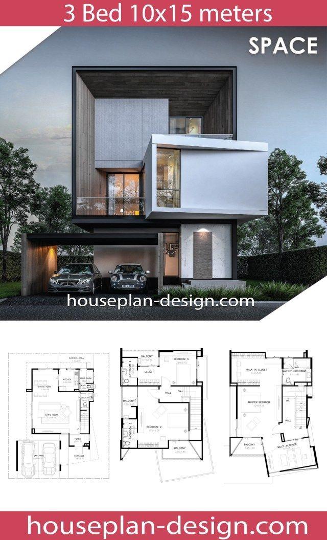 House Plan Design Modern House Plan 10x15m With 3 Bedrooms Masterbathroomfloorplans10x15 Modern House Plan Modern Beach House Contemporary House Design