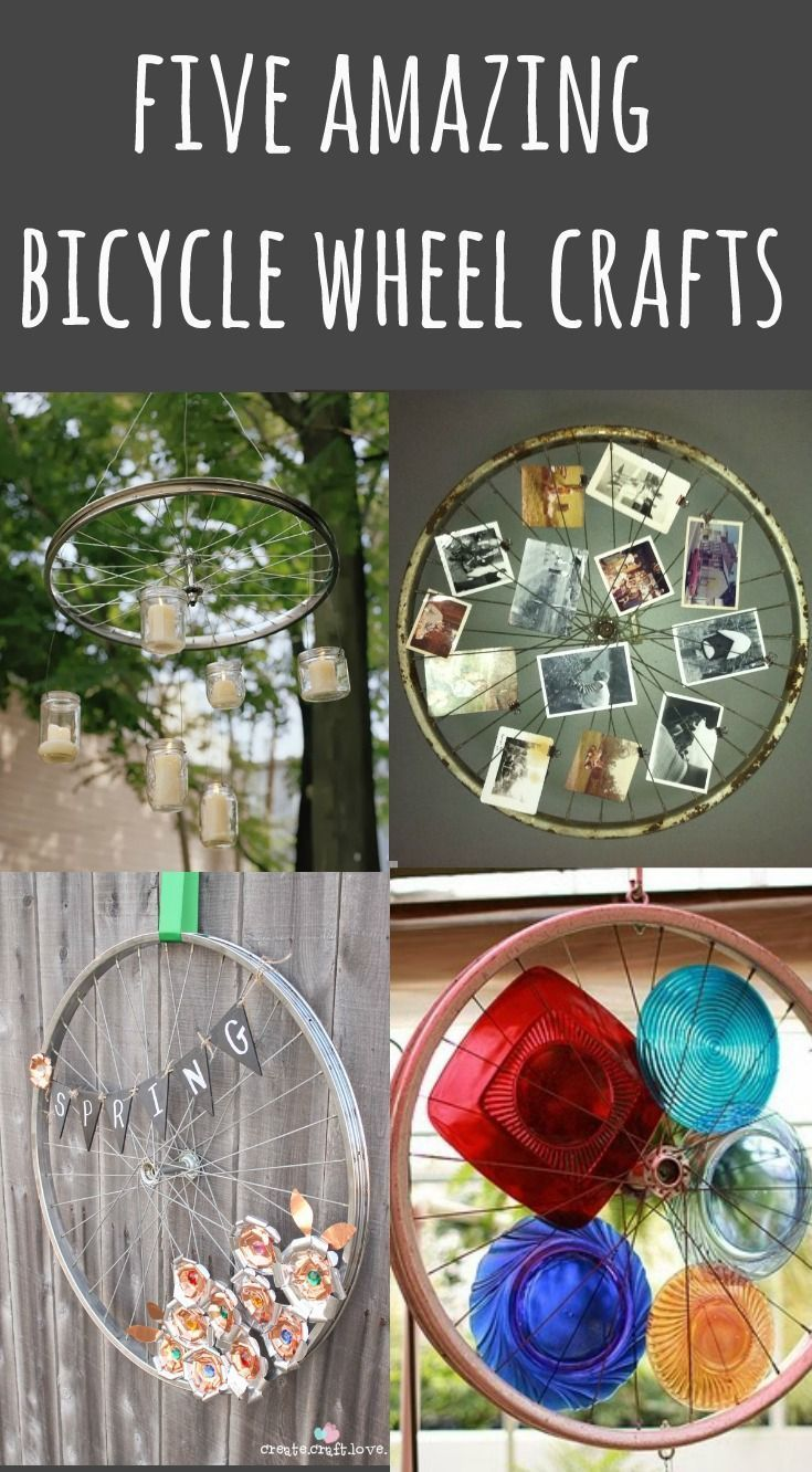 Ask your local bike shop for their cast-off bike wheels and create these amazing bicycle wheel crafts.  Perfect for spring patio projects! via @ReinventedKB