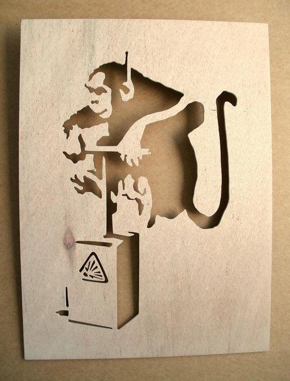 Banksy Monkey Detonator Wooden Stencil by existencil on Etsy