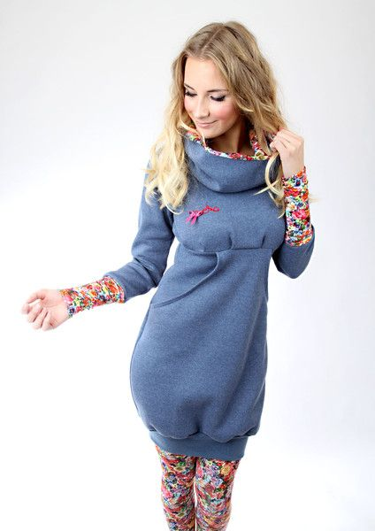 """Ballonkleider - MEKO """"Leny"""" Kleid Blau Damen langarm Blumen - ein Designerstück von meko bei DaWanda"""