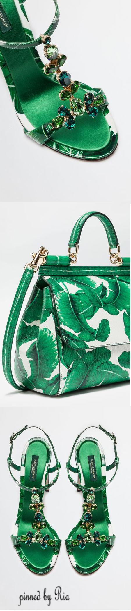 Dolce & Gabbana Sicily Banana Leaf Jeweled Sandals & Matching Handbag l Fall 2017 l Ria