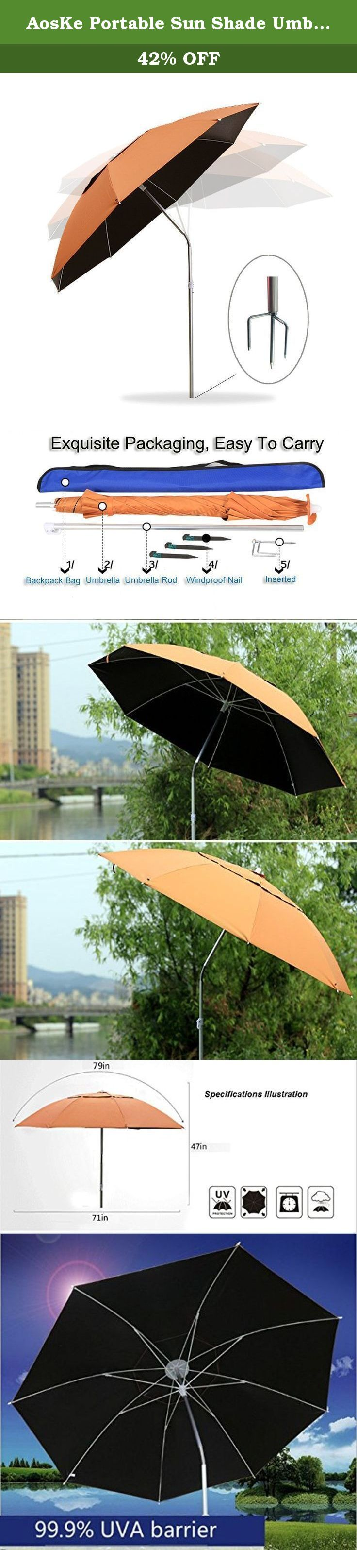 AosKe Portable Sun Shade Umbrella, Inclined, Heat Insulation, Antiultraviolet Function, Commonly Used In Garden, Beaches, Fishing Essential - Orange. Color: Orange Product Features: 1) Can block 90% of the UV, greatly reduce the damage to the human body by UV. 2) You can bend, Easy to block ultraviolet rays from multiple directions to your injury. 3) Easy installation, easy disassembly, light weight, small size and easy to carryIt, greatly saves you time to enjoy the outdoor life. Package...