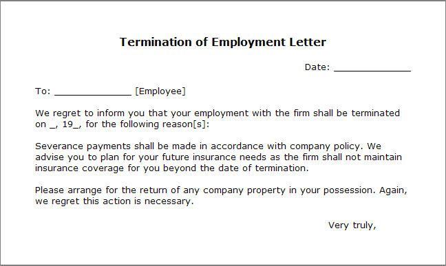 Printable Sample Letter Of Termination Form