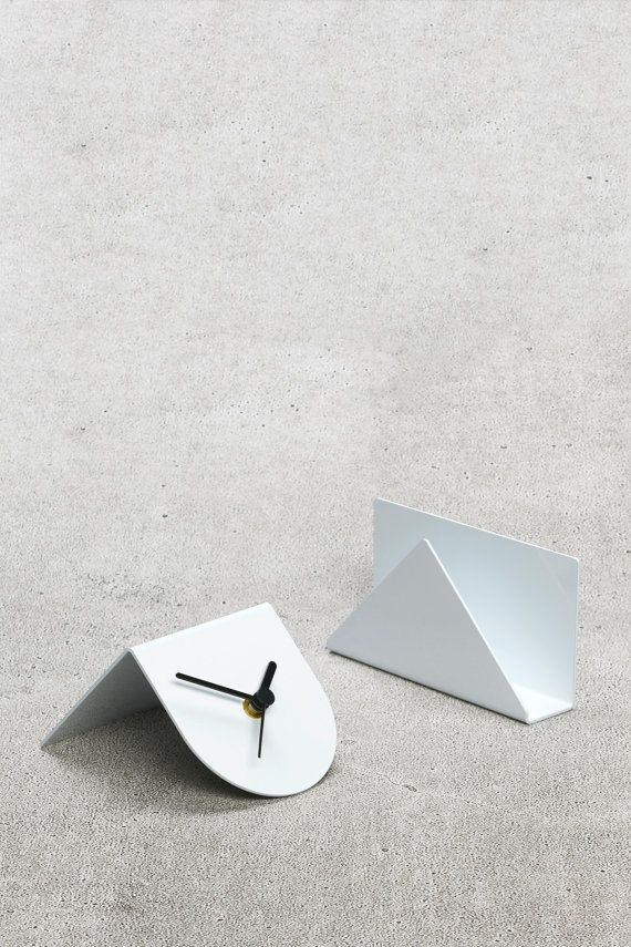 1/2 Desk Clock White