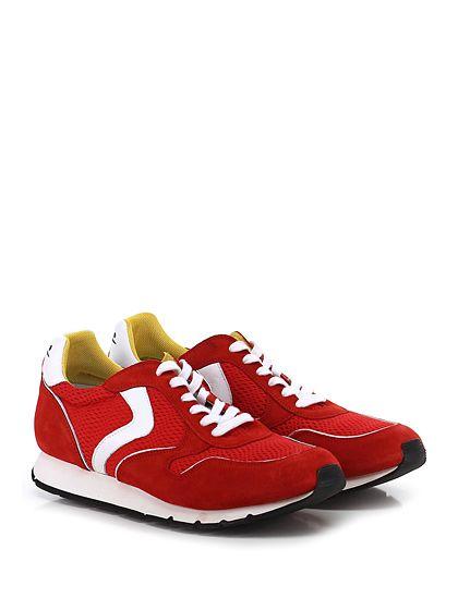 Voile Blanche - Sneakers - Uomo - Sneaker in camoscio e tessuto tecnico con suola in gomma, tacco 25. - ROSSO\BIANCO - € 198.00