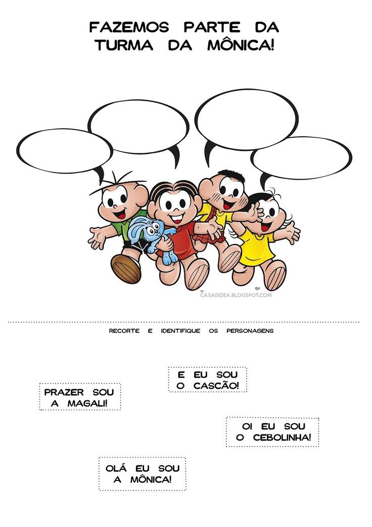 CASA: Historia em Quadrinhos, Turma da Mônica, Identifique os personagens - Colagem - Série: Apoio Educacional em Casa