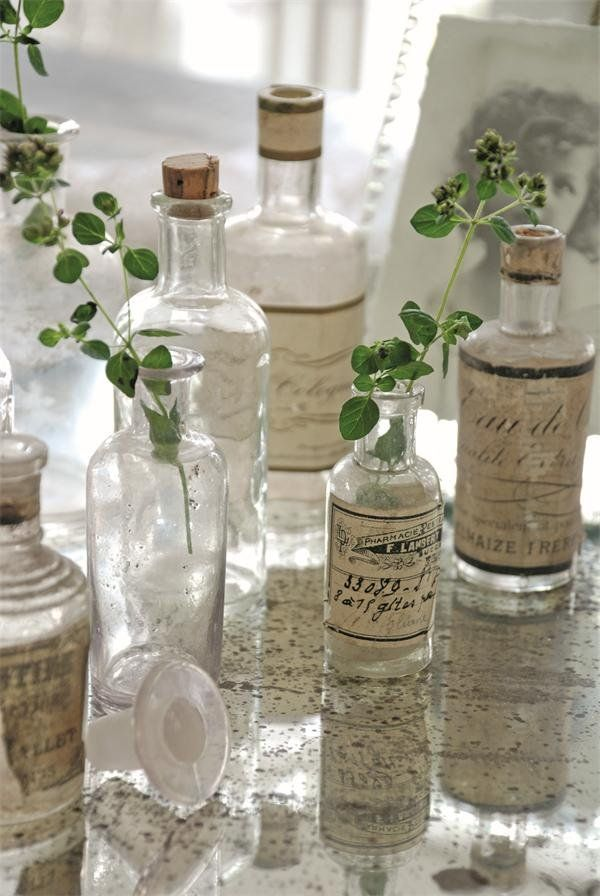 Old vintage bottles as glass flower vase