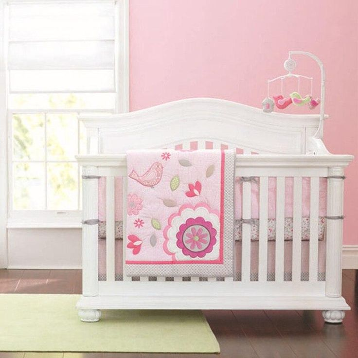 7pcs Embroidery flower Girl Toddler Infant kids bedding ...