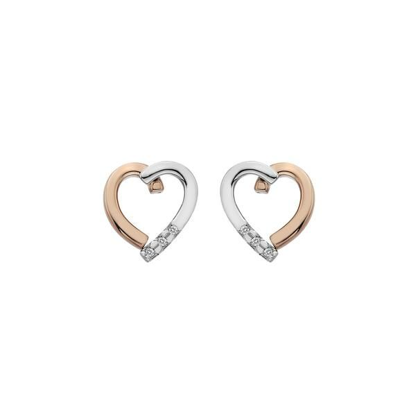 These charming open heart earrings, measuring 9mm x 11mm, are carefully crafted from sterling silver and rose gold plate. Three stones made up of one real point