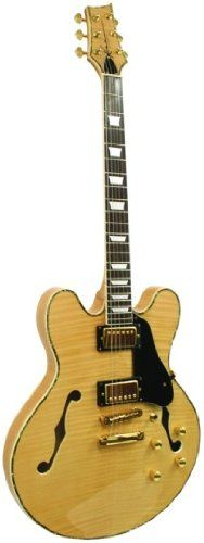 Kona Guitars KE35FMN Jazzed 335 Flamed Maple Semi Hollow Body Electric Guitar with Custom Fit Tolex, Plush-Lined Hardcase. Set in neck. Comes with tolex case. Chrome hardware.