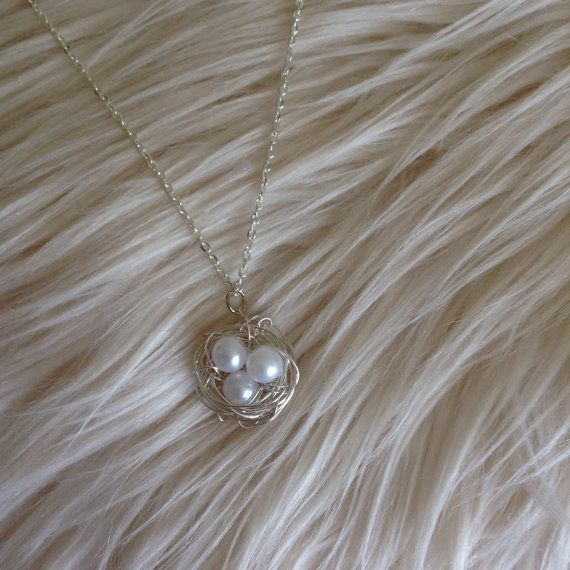 Bird Nest Necklace White Necklace White Bird Nest by MaBelleViolet