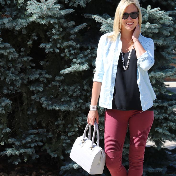 Chambray shirt and moto leggings are perfect for fall!