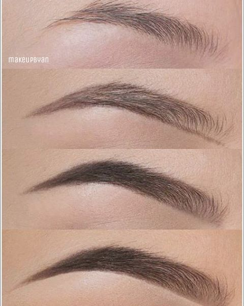 "Brow tutorials: ""In this picture I used @anastasiabeverlyhills brow wiz in medium brown to create the shape of my brow,  brow powder in Ash brown to fill in the other edge and also a bit at the beginning. In the last pic I used some clear brow gel and concealer underneath the edges to make it look more neat"""