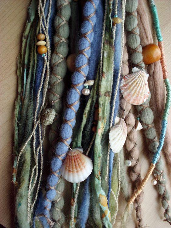 10pc sob encomenda da sereia Dreads de lã com X-Cruz Wrap & contas Bohemian Hippie Rastafari tribais Extensions Boho Sob reservatórios de água do mar do oceano