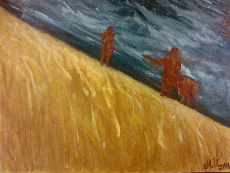 Decision: to be or not to be?  to go or not to go? Up or down? Bright or darkk? Acrylics,  90x70 cm, board