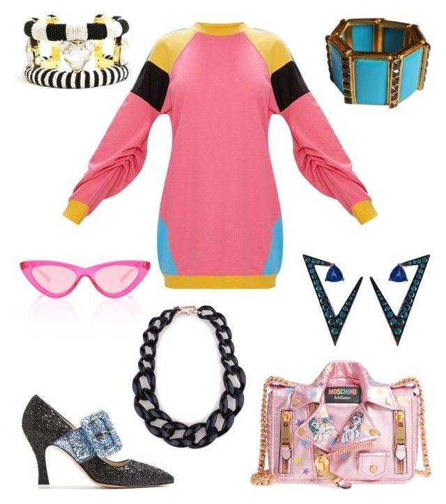 """""""80s Inspired Outfit"""" by miwemporium92 on Polyvore featuring Nikos Koulis, Le Specs, Attico, Moschino and Forest of Chintz"""